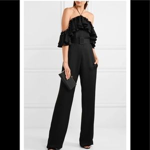 NWT Emilio Pucci black ruffled jumpsuit. Size 40